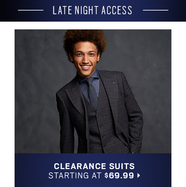 Clearance Suits starting at $69.99