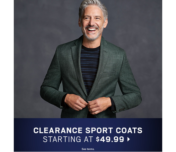 Clearance Sport Coats starting at $49.99