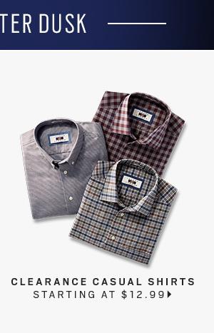 Clearance Casual Shirts starting at $12.99