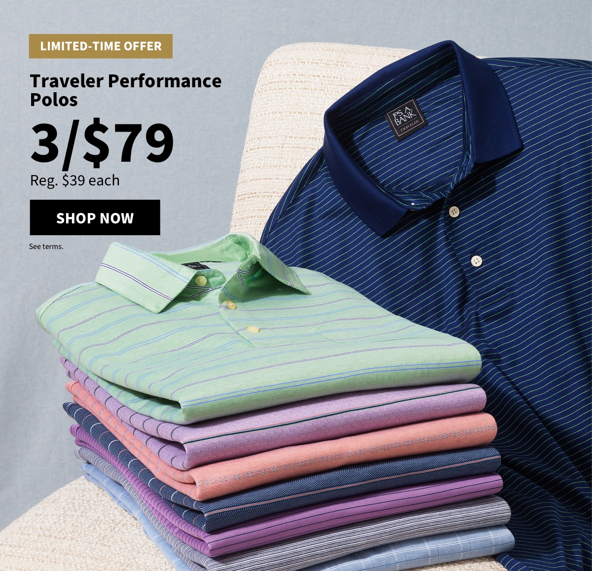 Traveler Performance Polos 3/$79 - Shop Now