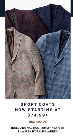 Sport Coats NOW starting at $74.99 including Nautica, Tommy Hilfiger & Lauren by Ralph Lauren