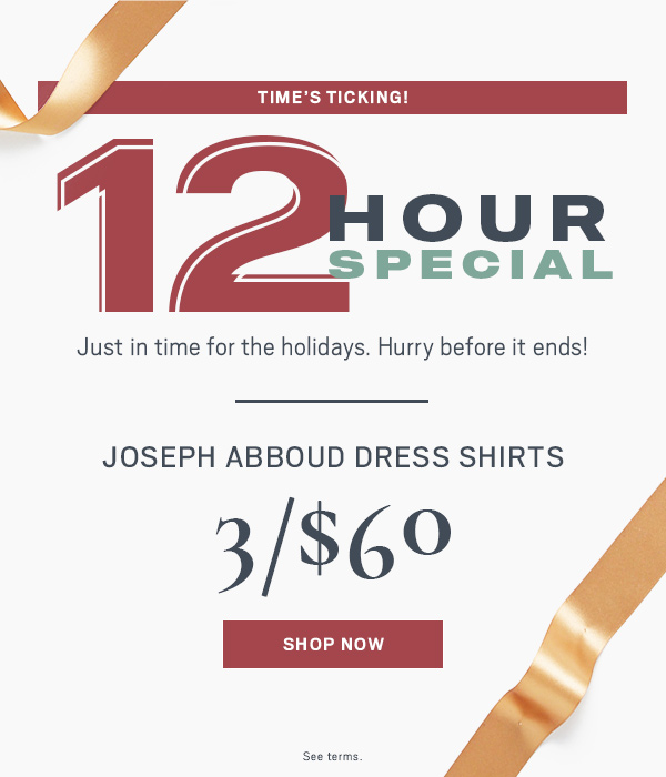12 HOUR SPECIAL | JOSEPH ABBOUD DRESS SHIRTS 3/$60 - Shop Now