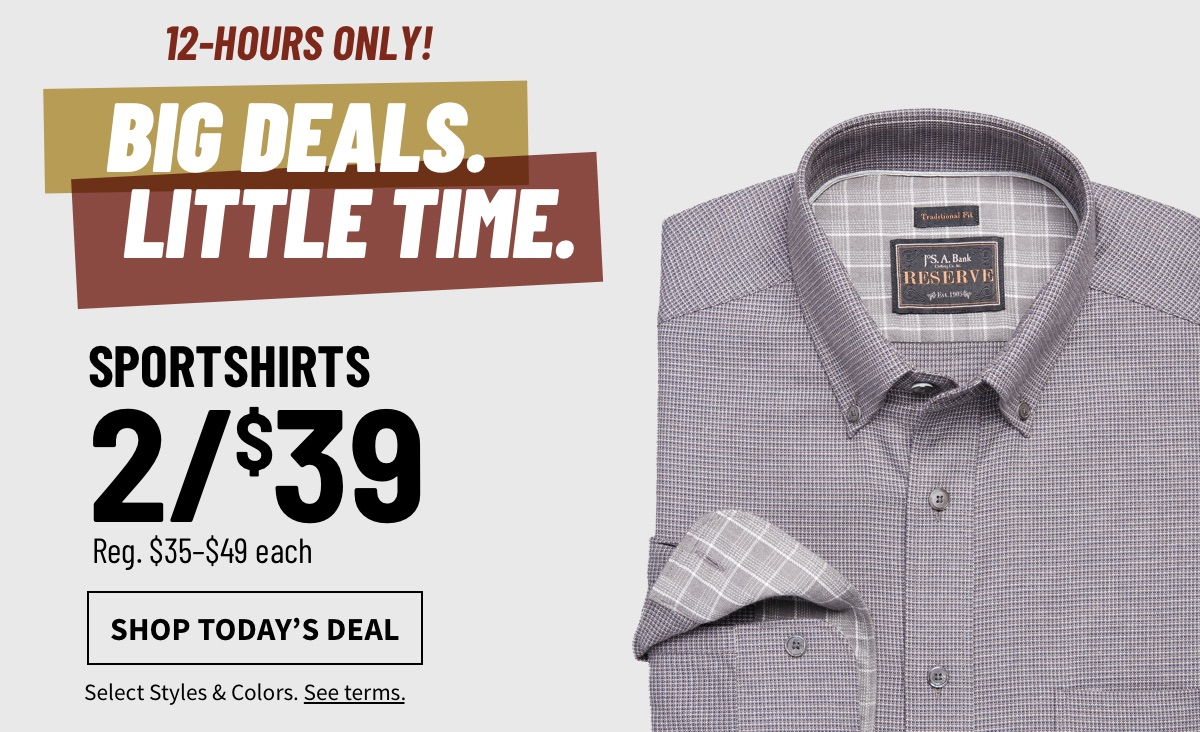 12 HOURS ONLY| Sportshirts 2/$39 - Shop Today's Deal