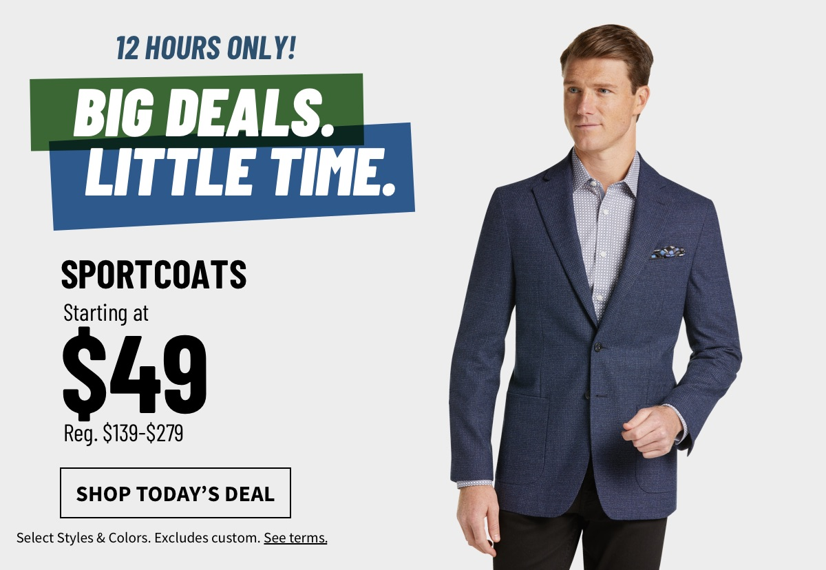 12 Hour Deals Sportcoats Starting at $49 - Shop Today's Deal