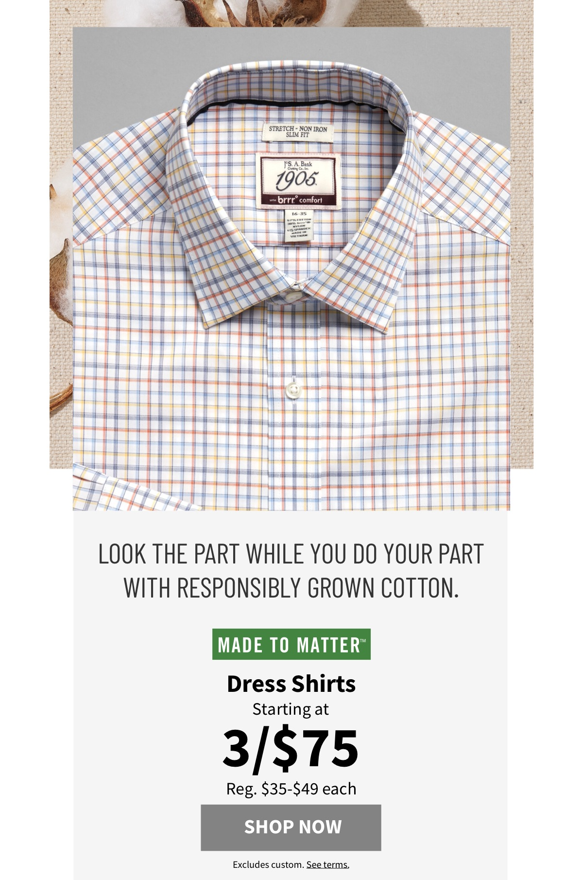Made to Matter Dress Shirts Starting at 3/$75 - Shop Now